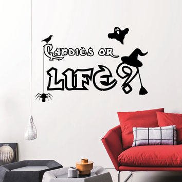 Wall Decals Quotes Halloween Candies Or Life Specter Spirits Crows Bats Design Attributes Halloween Panic Room Bedroom Window Stickers 3973