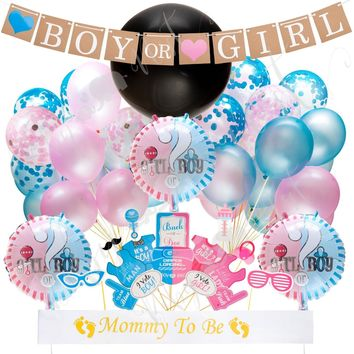 Gender Reveal Party Supplies, Baby Shower Boy or Girl Reveal Kit (64 Pieces)