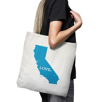 California Tote Bag // Housewarming Gift // Bridesmaid Gift Idea // Home State Love // white canvas tote with black inside and handle