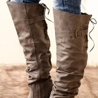 Over The Knee Taupe Lace Boots