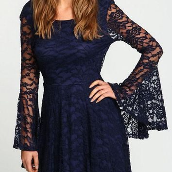 Sapphire Blue Patchwork Lace Backless Bell Sleeve Homecoming Cute Mini Dress