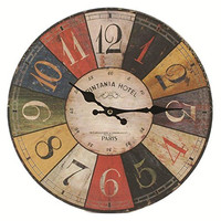 "Blossom Bucket 1566-71915 Round Wall Clock, 13-1/4"", Multicolor"