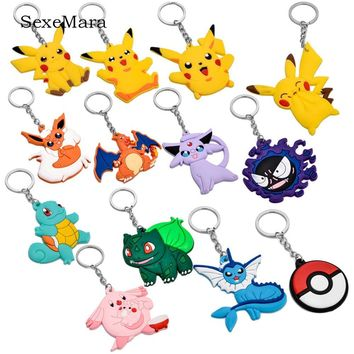 5pcs/lot Pocket Monsters Cartoon PVC Cute Japanese Anime  KeyChain Trinket Car Key Chains Kid Toy KeyRing Charms LlaverosKawaii Pokemon go  AT_89_9