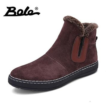 BOLE Fashion Handmade Cow Suede Men Boots Winter New Slip on Keeping Warm Men Snow Boots Side Zipper Furry Flats Men Ankle Boots