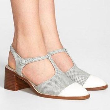 1103b6cfe4c Jeffrey Campbell Oxford Flats Gray and White T Strap Chunky Heels Size 10