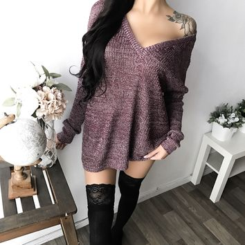 SMALL/MEDIUM - Bea Oversized Knit Sweater (BURGUNDY)