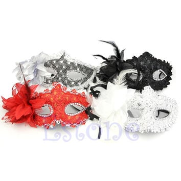 Sexy Venetian Lace Feather Ball Masquerade Mask Paillette Flower Party Eye Masks Hot Sale