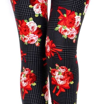 Checkered Roses Printed Women Leggings