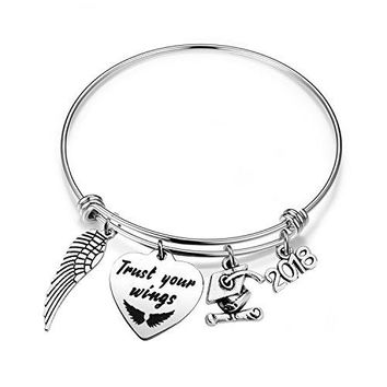 bobauna 2018 Graduation Gift Stainless Steel Trust Your Wings Expandable Wire Bangle Bracelet Inspirational Jewelry