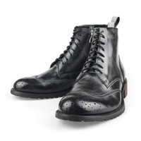 ZLYC Men's British Style Leather Combat Military Lace Up Work Boots