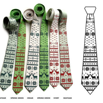 Nordic Holiday Sweater necktie. Men's tie. Kitchy sweater silkscreen print. Red or green reindeer & snowflake design. Holiday fashion.