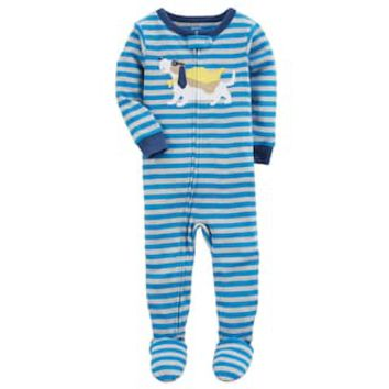 Baby Boy Carter's Super Dog Striped One-Piece Footed Pajamas | null