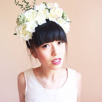 statement flower crown headband  // oversize, wedding bridal headpiece, quirky, lana del rey, summer, festival