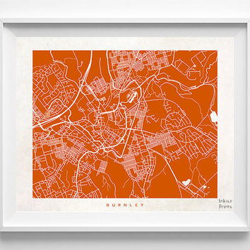 Burnley Map, England Print, Burnley Poster, England Poster, Map Print, Map Decor, Baby Room Decor, Room Wall Art, Halloween Decor