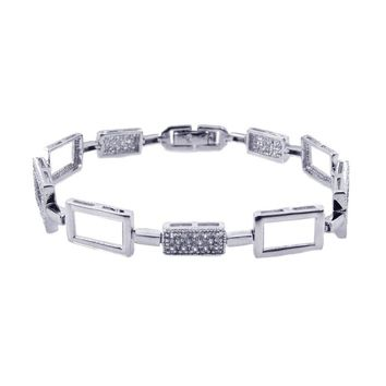 .925 Sterling Silver Rhodium Plated Tennis Cubic Zirconia Bracelet