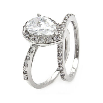 .925 Sterling Silver Rhodium Plated Clear Pear Shaped Cubic Zirconia Bridal Ring Set: Size:5
