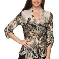 Career Paisley Print Deep V Neck 3/4 Sleeve Hi-Low Hem Tunic Blouse Top