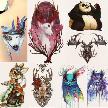 1 Sheet Beauty Decal Waterproof Tattoo Sticker Cute Colored Horse Animal Pattern Women Girl Body Art Temporary Tattoo Removable
