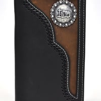 Nocona Rodeo Genuine Leather Western Men's Wallet w/Concho-Black-N54512129
