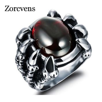 ZORCVENS 2018 Mens Punk Dragon Claw Red CZ Cubic Zirconia Silver Tone 316L Stainless Steel Ring