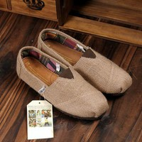 Linen Multi Casual Fashion Women men Shoes Flat Platform Lazy Breathable Espadrilles Canvas Shoes 2colors