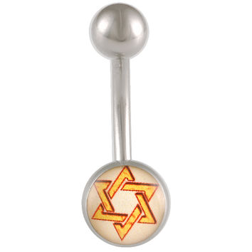 Shield of David Logo Ball End Belly Button Ring For Girls [Gauge: 14G - 1.6mm / Length: 10mm] 316L Surgical Steel