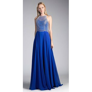 Royal/Silver Sleeveless Long Formal Dress with Embellished Bodice