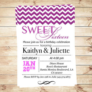Fuchsia Chevron Sweet Sixteen Invitation Sweet 16 birthday party invite, customized sweet 16 invitations, Art Party Invitation