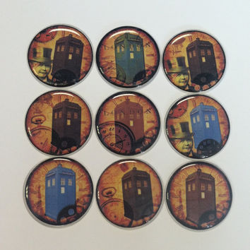 9 Dr. Who Tardis Epoxy Sealed Art Collage DIY 3D One Inch Round Images Bottle Cap Pendants Scrapbooking Jewelry Bulk Craft Supplies (BW1)