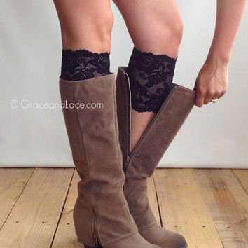 Stretch Lace Boot Cuffs - BLACK lace boot topper boot cuff - faux legwarmers - leg warmers lace cuff by Grace and Lace