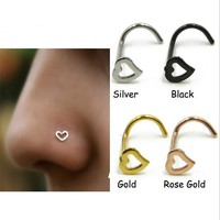 Stainless Steel Silver Gold Nose Open Hoop Ring Earring Body Piercing Heart Nose Studs Women Men Studs Jewelry Drop Shipping