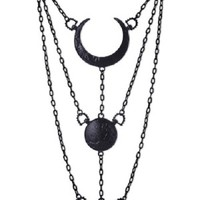 Restyle | Moon Phases Necklace (Black) - Tragic Beautiful buy online from Australia