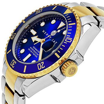 """Henry Jay Mens 23K Gold Plated Two Tone Stainless Steel """"Specialty Aquamaster"""" Professional Dive Watch with Date (Amazing Christmas Gift)"""