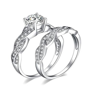 Crystal plating Anniversary Promise Band Engagement Ring