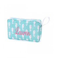 Monogrammed Accessory Bag Aqua Seahorse Nautical Beach Cosmetic Bag
