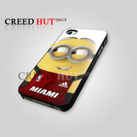 Minion With Miami Heat Jersey - iPhone 4/4s/5 Case - Samsung Galaxy S3/S4 Case - Black or White