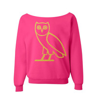 OVO Owl Sweatshirt Drake Shirt PINK off the shoulder slouch jumper wide neck boat neck all sizes