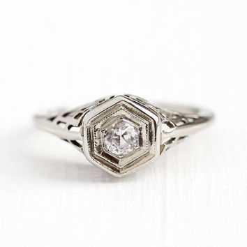 Filigree Engagement Ring - Created White Sapphire 14k White Gold - Vintage Size 6 Alternative Colorless Fine Hexagonal Geometric Jewelry