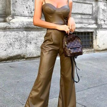 In The Studio PU Faux Leather Sleeveless Spaghetti Strap Bustier Belted Wide Leg Loose Jumpsuit - 2 Colors Available