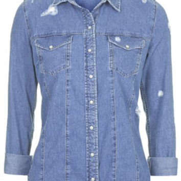 MOTO Ripped Denim Shirt - Blue