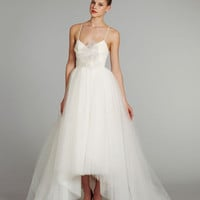 Empire Spaghetti Straps Tulle Asymmetrical Wedding Dress With Bow at Dresseshop