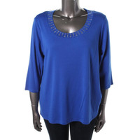 Style & Co. Womens Plus Knit Embellished Casual Top