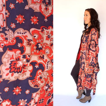 John Weitz Asian Inspired 70's Paisley Kimono Satin Robe Duster