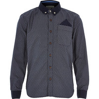 River Island Boys navy half moon print shirt