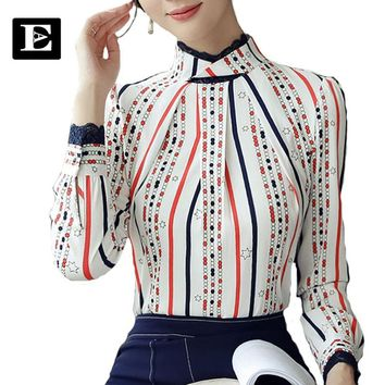 EvelingAsky 2017 New lace stitching blouse Women's Color stripes shirt with Lotus leaf collar for Ladies Tops 2XL 17008
