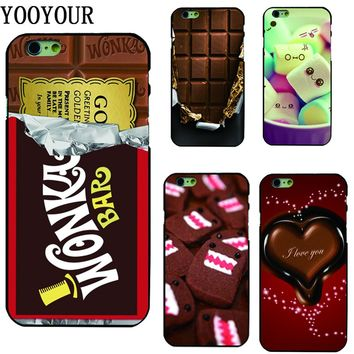 Yooyour Chocolate hard plastic Cover Case For Apple iphone 4 4s 5 5s SE 5c 6 6S 6PLUS 7 8  X 7PLUS  8PLUS