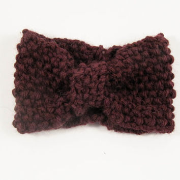 Wine red knit headband, ear warmer, head warmer, winter accessories, handmade, marsala, plum colored earwarmer