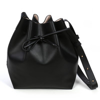 LE3NO Womens Faux Leather Drawstring Shoulder Bucket Bag