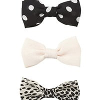 FOREVER 21 Quirky Hair Bow Set Cream/Black One