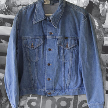 "Vintage 1970s Wrangler ""Range Jacket"" Western Work Rodeo Denim - Medium / Large"